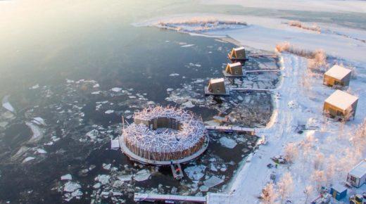 A sarkvidéki fürdő belsejében – Svédország exkluzív lebegő fürdőszobája, ahonnan csodálatos kilátás nyílik az északi fényre