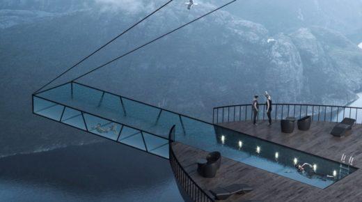 Lélegzetelállító koncepció hotel egy szikla szélén