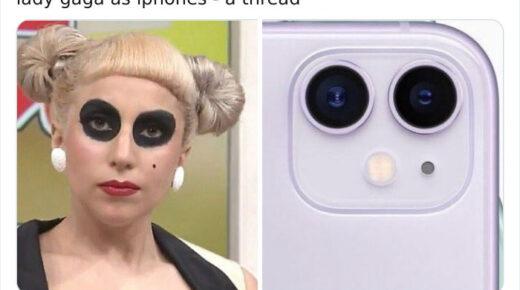 Twitter bejegyzések, melyek telefonokat párosítanak Lady Gaga outfitjeihez